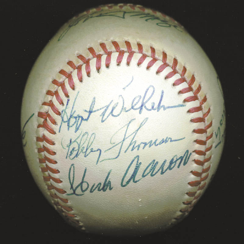 Image 1 for Hank Aaron - Autographed Signed Baseball with co-signers - HFSID 88318