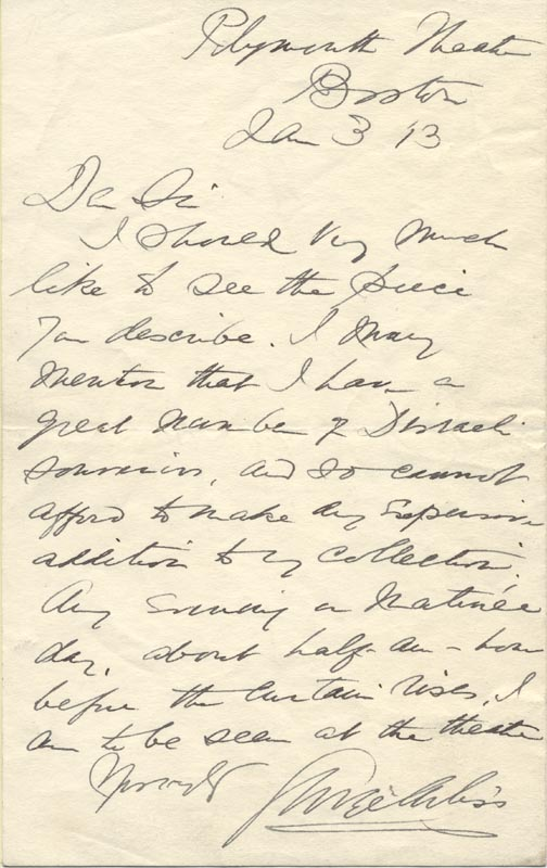 Image 1 for George Arliss - Autograph Letter Signed 01/03/1913 - HFSID 88324