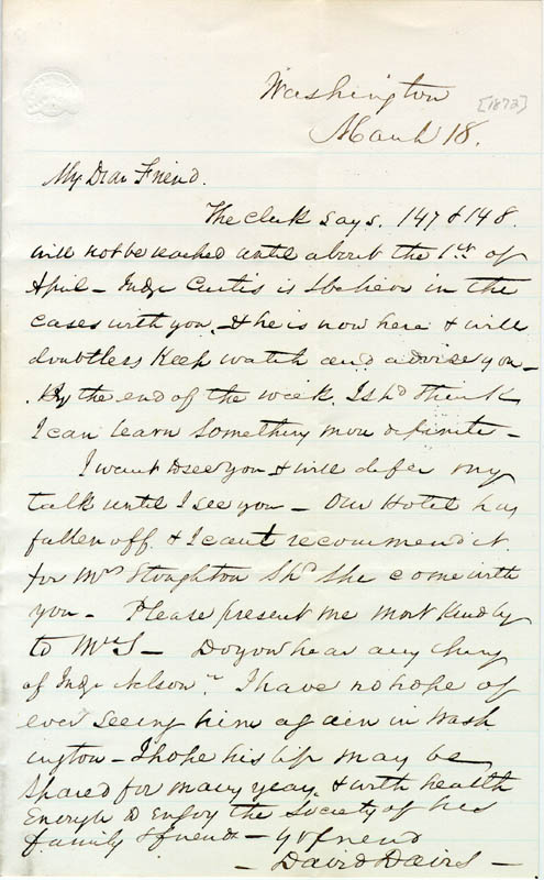 Image 1 for Associate Justice David D. Davis - Autograph Letter Signed 03/18/1872 - HFSID 88390