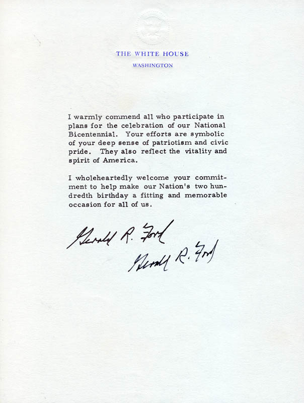 Image 1 for President Gerald R. Ford - Typed Note Signed Circa 1976 - HFSID 89144