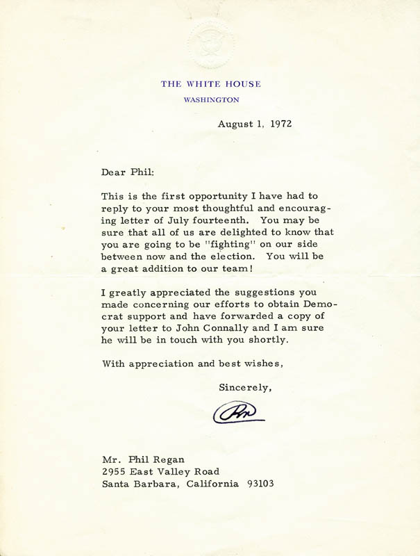 Image 1 for President Richard M. Nixon - Typed Letter Signed 08/01/1972 - HFSID 89150
