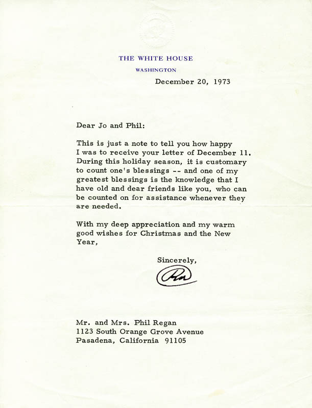 Image 1 for President Richard M. Nixon - Typed Letter Signed 12/20/1973 - HFSID 89152