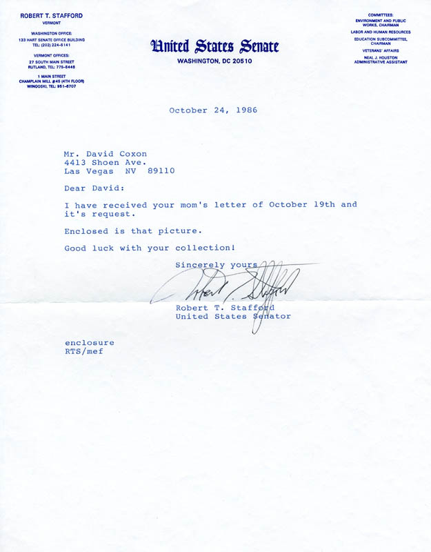 Image 1 for Governor Robert T. Stafford - Typed Letter Signed 10/24/1986 - HFSID 89196