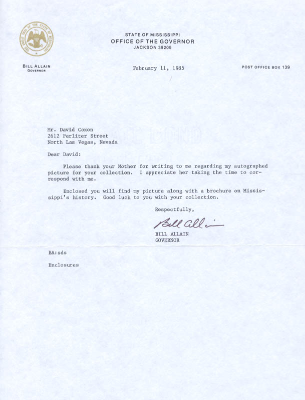 Image 1 for William A. 'Bill' Allain - Typed Letter Signed 02/11/1985 - HFSID 89373
