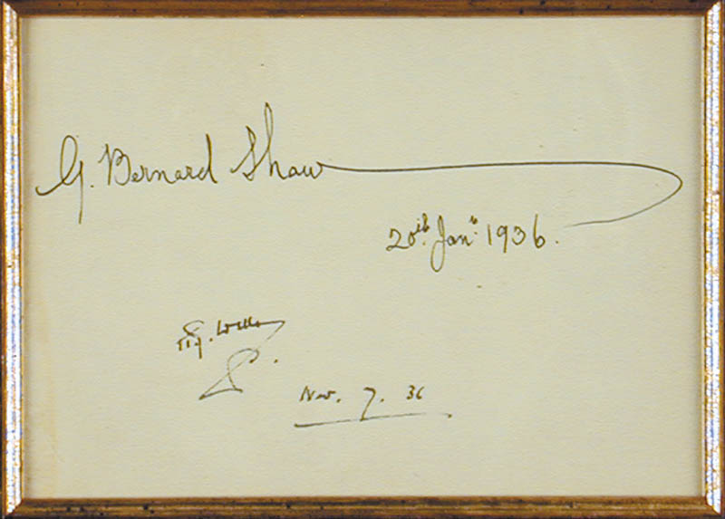 Image 3 for George Bernard Shaw - Autograph 01/20/1936 co-signed by: H. G. Wells - HFSID 89769