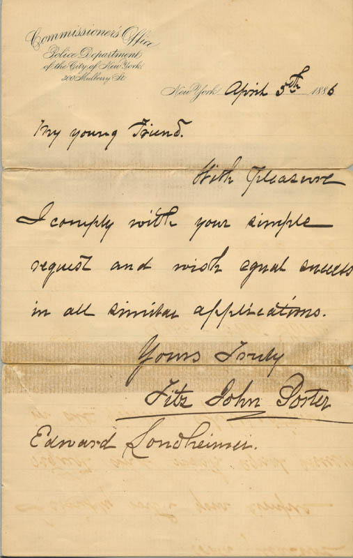 Image 1 for Major General Fitz John Porter - Autograph Letter Signed 04/05/1886 - HFSID 89907