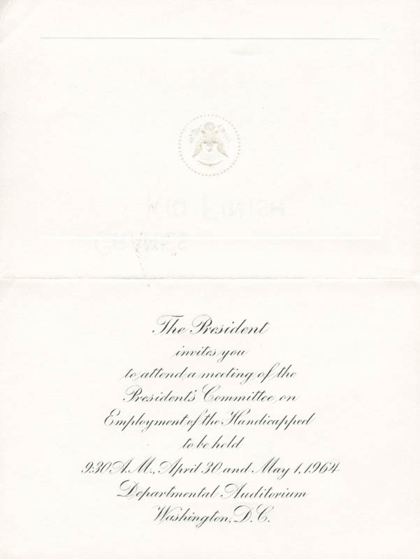Image 3 for President Lyndon B. Johnson - Invitation Unsigned Circa 1965 - HFSID 9001723