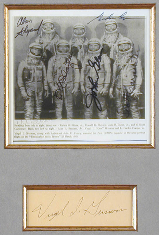 Image 3 for Lt. Colonel Virgil I. 'Gus' Grissom - Collection with John Glenn, Colonel Gordon Cooper Jr., Captain Wally M. Schirra, Scott Carpenter, Rear Admiral Alan B. Shepard Jr., Major Donald 'Deke' Slayton - HFSID 90375