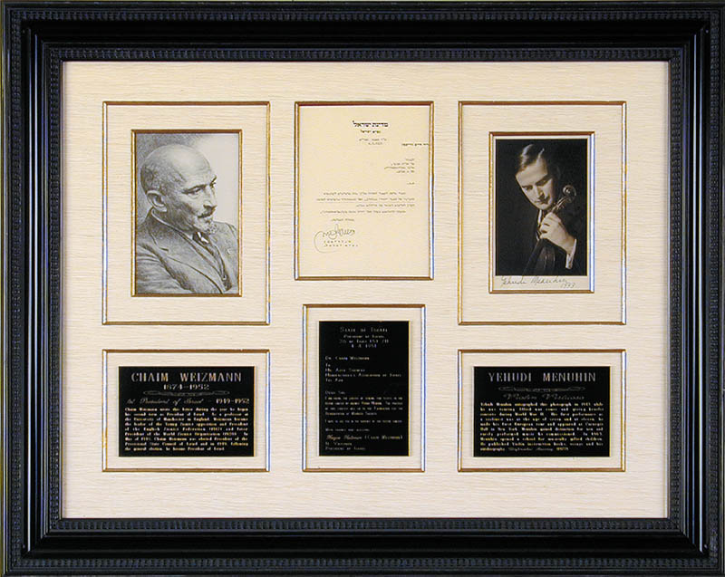Image 1 for President Chaim Weizmann (Israel) - Collection with Yehudi Menuhin - HFSID 90428