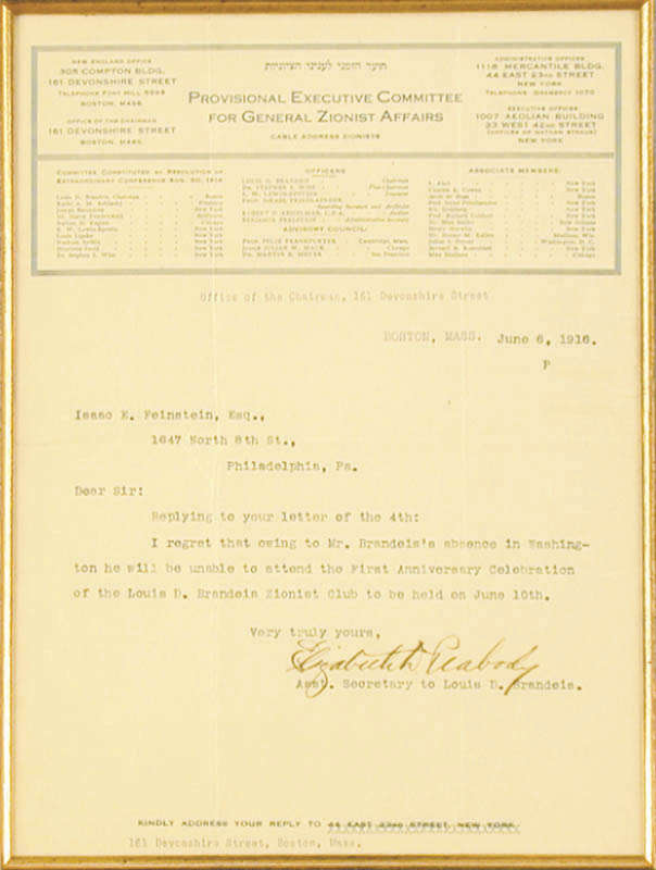 Image 4 for Associate Justice Louis D. Brandeis - Collection with Elizabeth D. Peabody - HFSID 91011