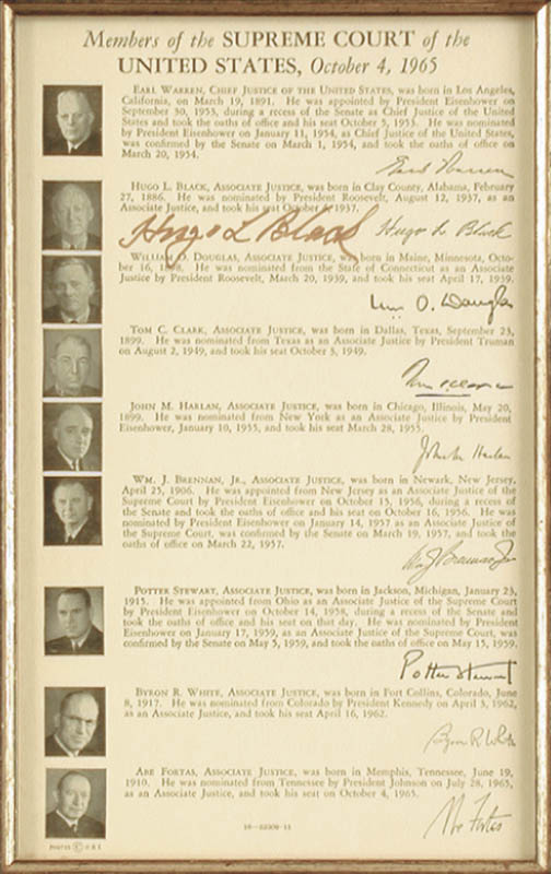 Image 5 for President John F. Kennedy - Collection with  Byron R. White, John M. Harlan Jr., Abe Fortas, Earl Warren, Justice Hugo L. Black, Tom C. Clark, William O. Douglas, Potter Stewart, William J. Brennan Jr. - HFSID 91038