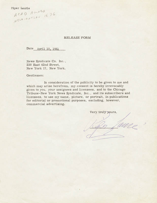 Image 1 for Piper Laurie - Document Signed 04/10/1961 - HFSID 937