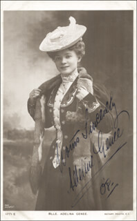 ADELINE GENEE - PICTURE POST CARD SIGNED 1908