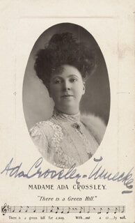 Autographs: ADA CROSSLEY-MUECKE - PICTURE POST CARD SIGNED 3/1912