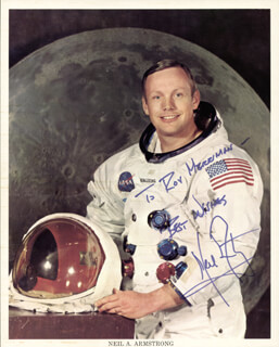 NEIL ARMSTRONG - INSCRIBED PRINTED PHOTOGRAPH SIGNED IN INK