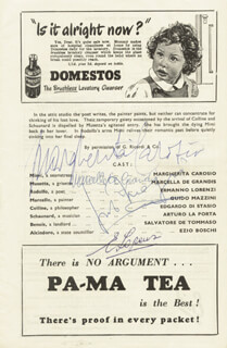 MARGHERITA CAROSIO - SHOW BILL SIGNED CIRCA 1954 CO-SIGNED BY: MARCELLA DE GRANDIS