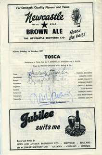 TOSCA PLAY CAST - SHOW BILL SIGNED CO-SIGNED BY: GUIDO MALFATTI, RENATO CIONI, MARINA CUCCHIO, LORIS GAVARINI