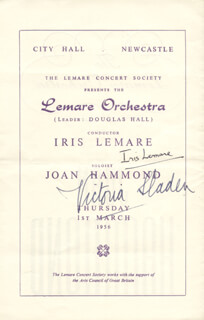 IRIS LEMARE - PROGRAM COVER SIGNED CIRCA 1956 CO-SIGNED BY: VICTORIA SLADEN