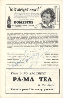 CARLO ZAMPIGHI - PROGRAM SIGNED CIRCA 1954
