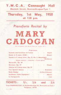MARY CADOGAN - PROGRAM SIGNED CIRCA 1958