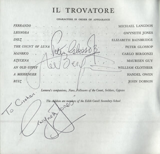GWYNETH JONES - INSCRIBED PROGRAM SIGNED CIRCA 1965 CO-SIGNED BY: CARLO BERGONZI, PETER GLOSSOP