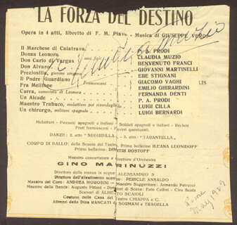 CLAUDIA MUZIO - PROGRAM PAGE SIGNED CIRCA 1929