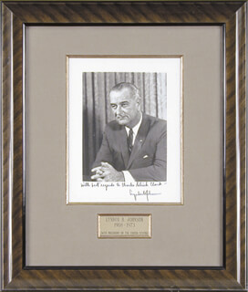 PRESIDENT LYNDON B. JOHNSON - AUTOGRAPHED SIGNED PHOTOGRAPH