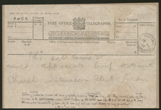 HALL (THOMAS HENRY HALL) CAINE - THIRD PERSON AUTOGRAPH TELEGRAM 11/15/1922