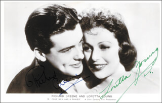 FOUR MEN AND A PRAYER MOVIE CAST - PICTURE POST CARD SIGNED CO-SIGNED BY: RICHARD GREENE, LORETTA YOUNG