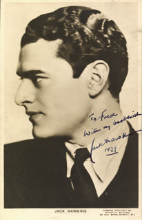 JACK HAWKINS - AUTOGRAPHED INSCRIBED PHOTOGRAPH 1939