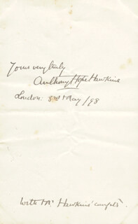 SIR ANTHONY HOPE HAWKINS - AUTOGRAPH SENTIMENT SIGNED 05/03/1898