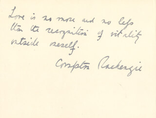 COMPTON MacKENZIE - AUTOGRAPH QUOTATION SIGNED