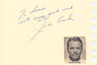 JOHN LUND - AUTOGRAPH NOTE SIGNED