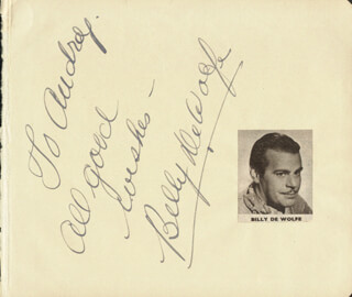 BILLY DE WOLFE - INSCRIBED ALBUM LEAF SIGNED