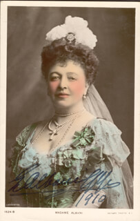 Autographs: DAME EMMA ALBANI GYE - PICTURE POST CARD SIGNED 1910