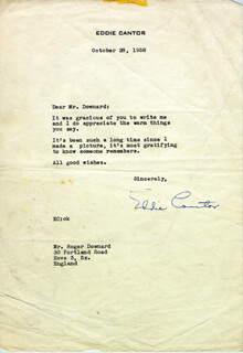 EDDIE CANTOR - TYPED LETTER SIGNED 10/28/1958
