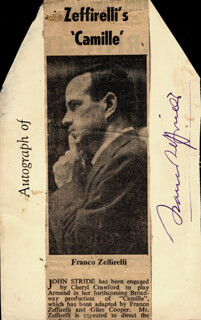 FRANCO ZEFFIRELLI - PRINTED CARD SIGNED IN INK