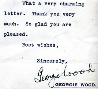 GEORGIE WOOD - TYPED NOTE SIGNED