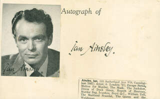 Autographs: IAN AINSLEY - PRINTED CARD SIGNED IN INK