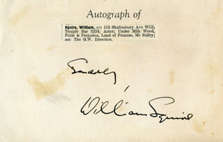 WILLIAM SQUIRE - AUTOGRAPH SENTIMENT SIGNED