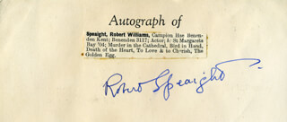 ROBERT WILLIAM SPEAIGHT - AUTOGRAPH