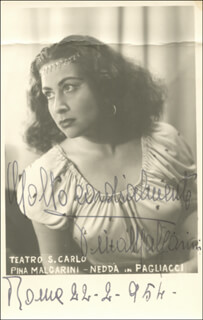 PINA MALGARINI - PICTURE POST CARD SIGNED 02/22/1954