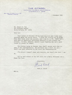 GENERAL MARK W. CLARK - TYPED LETTER SIGNED 12/03/1981