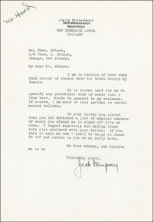 JACK DEMPSEY - TYPED LETTER SIGNED