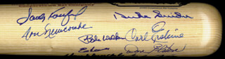 Autographs: THE BROOKLYN DODGERS - BASEBALL BAT SIGNED 07/04/1987 CO-SIGNED BY: CARL ERSKINE, JOHNNY PODRES, CHARLIE NEAL, ELMER VALO, KEN LEHMAN, RUBE WALKER, DON NEWK NEWCOMBE, JOE PIGNATANO, DON ZIMMER, ED ROEBUCK, DON DRYSDALE, SANDY KOUFAX, DON ELSTON, CLEM LABINE, DUKE SNIDER
