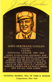 JOCKO CONLAN - BASEBALL HALL OF FAME PLAQUE POSTCARD SIGNED