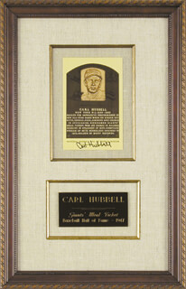 CARL HUBBELL - BASEBALL HALL OF FAME PLAQUE POSTCARD SIGNED