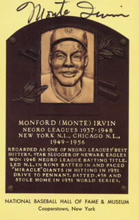 Autographs: MONTE IRVIN - BASEBALL HALL OF FAME PLAQUE POSTCARD SIGNED