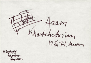 ARAM KHACHATURIAN - AUTOGRAPH MUSICAL QUOTATION SIGNED 03/01/1977