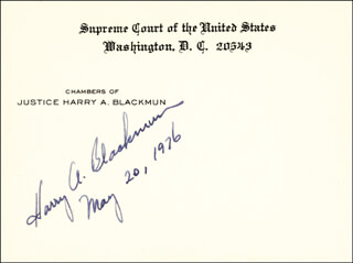 Autographs: ASSOCIATE JUSTICE HARRY A. BLACKMUN - SUPREME COURT CARD SIGNED 05/20/1976